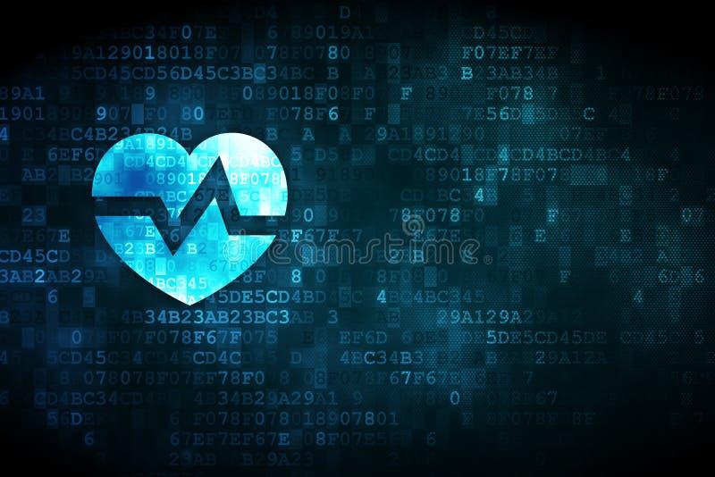 Concepto de la salud: Corazón en fondo digital fotografía de archivo libre de regalías