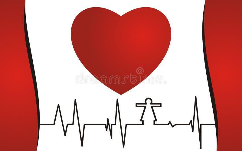 Concepto de la salud, corazón rojo y cardiograma libre illustration