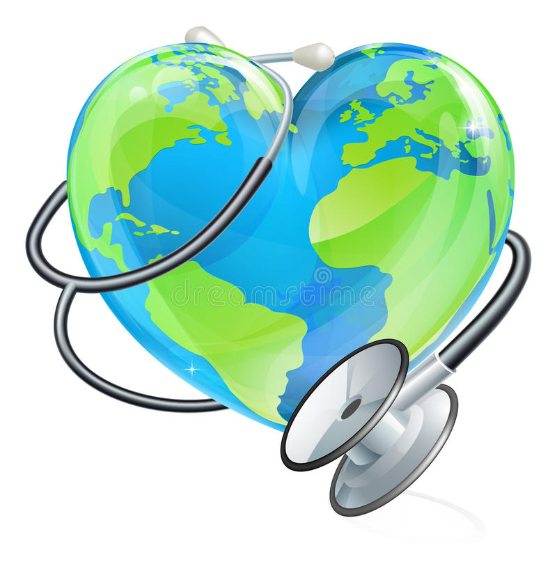 Concepto de la salud del estetoscopio del globo del mundo de la tierra del corazón ilustración del vector