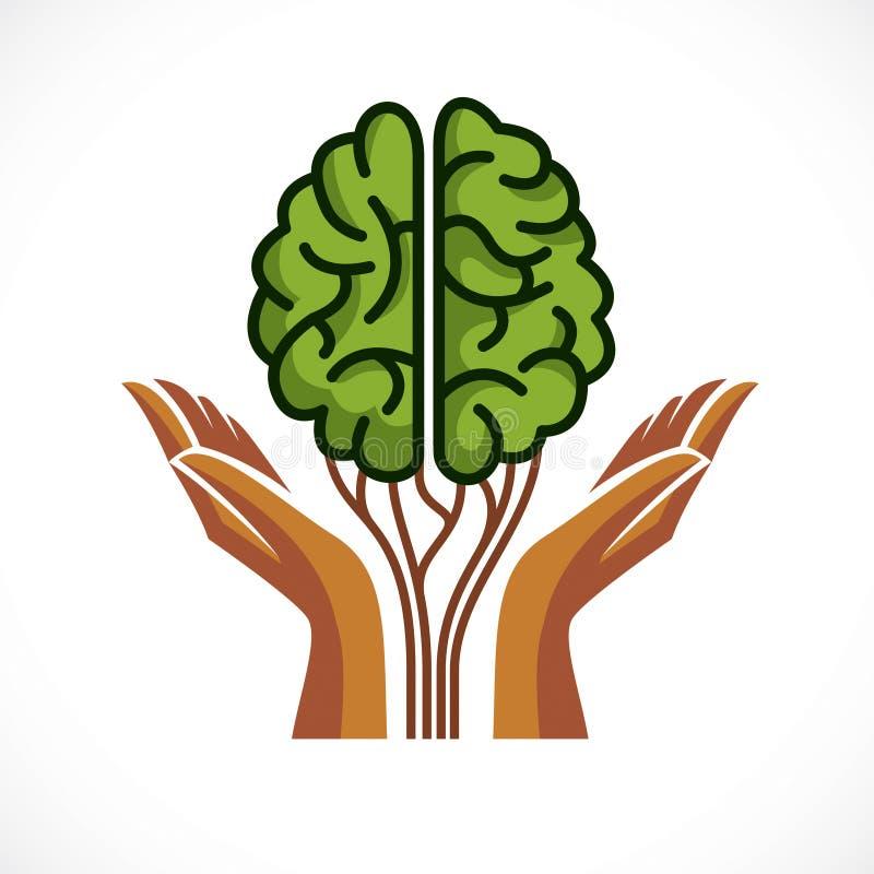 Concepto de la salud mental y de la psicología, icono del vector o diseño del logotipo libre illustration