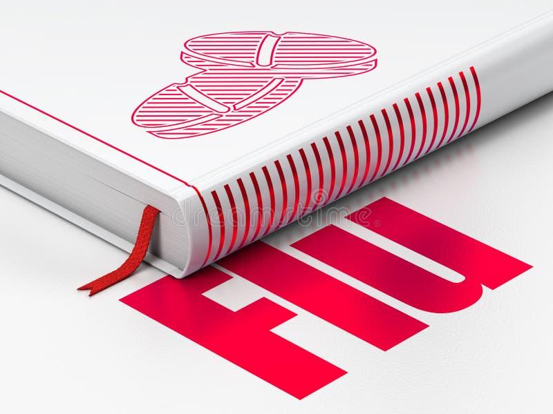 Concepto de la salud: píldoras del libro, gripe en el fondo blanco ilustración del vector