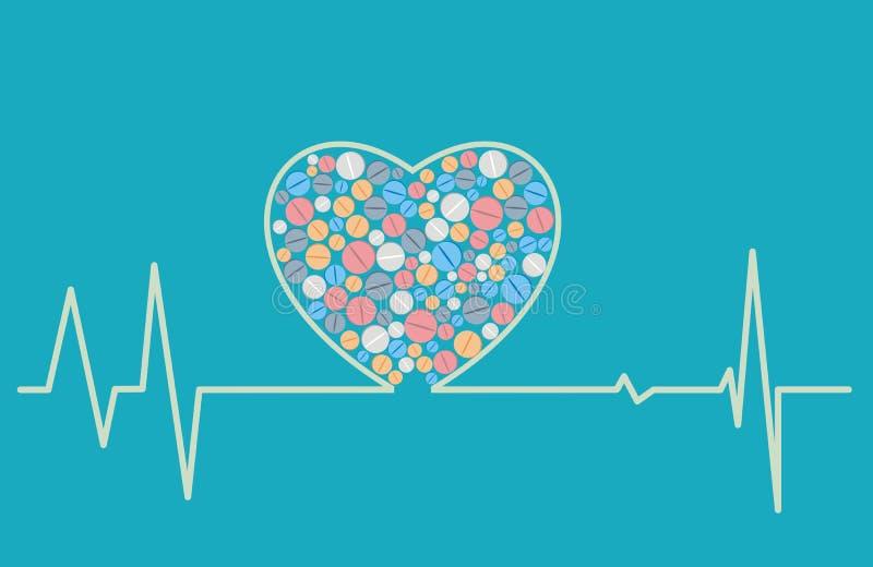 Concepto de la salud - un cardiograma en forma de corazón incluye las tabletas ilustración del vector
