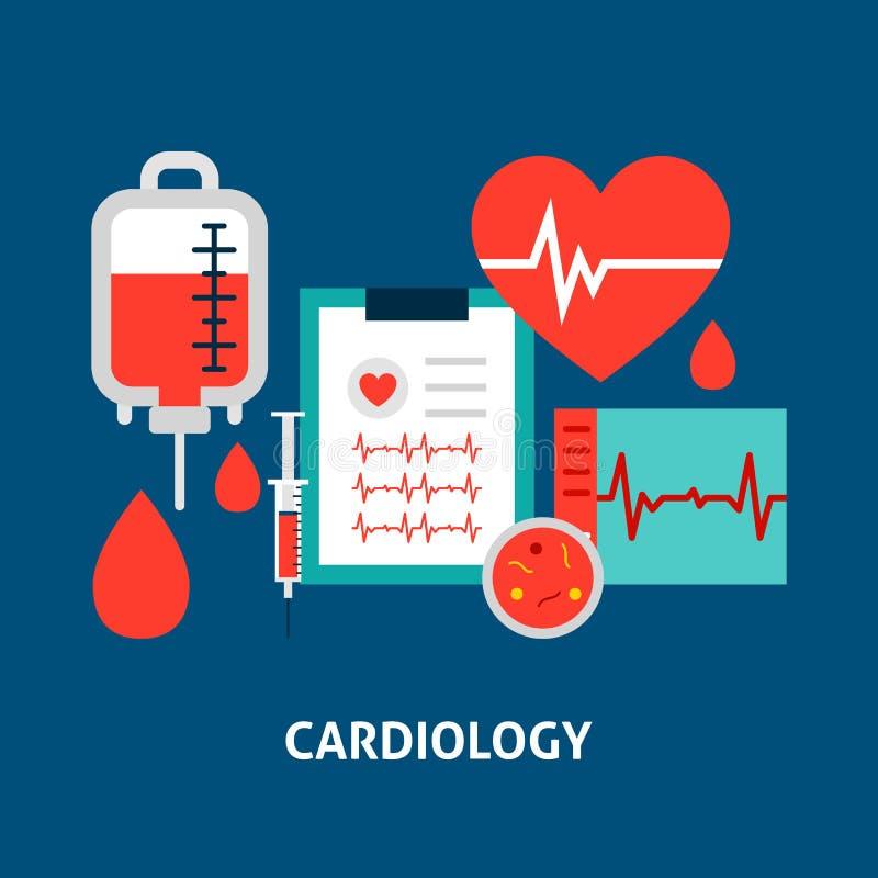 Concepto de la sangre de la cardiología ilustración del vector