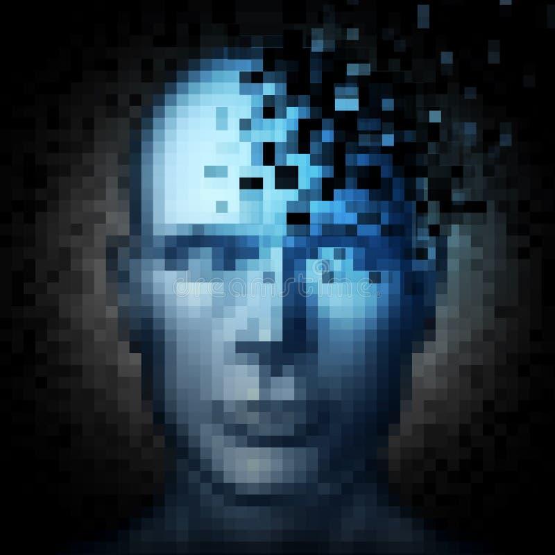Concepto de la seguridad con el ladrón disimulado que roba datos del ordenador de la computadora portátil en la noche stock de ilustración