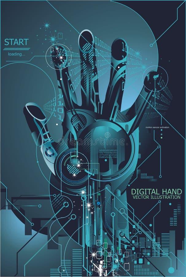 Concepto de la seguridad con la huella digital digital ilustración del vector