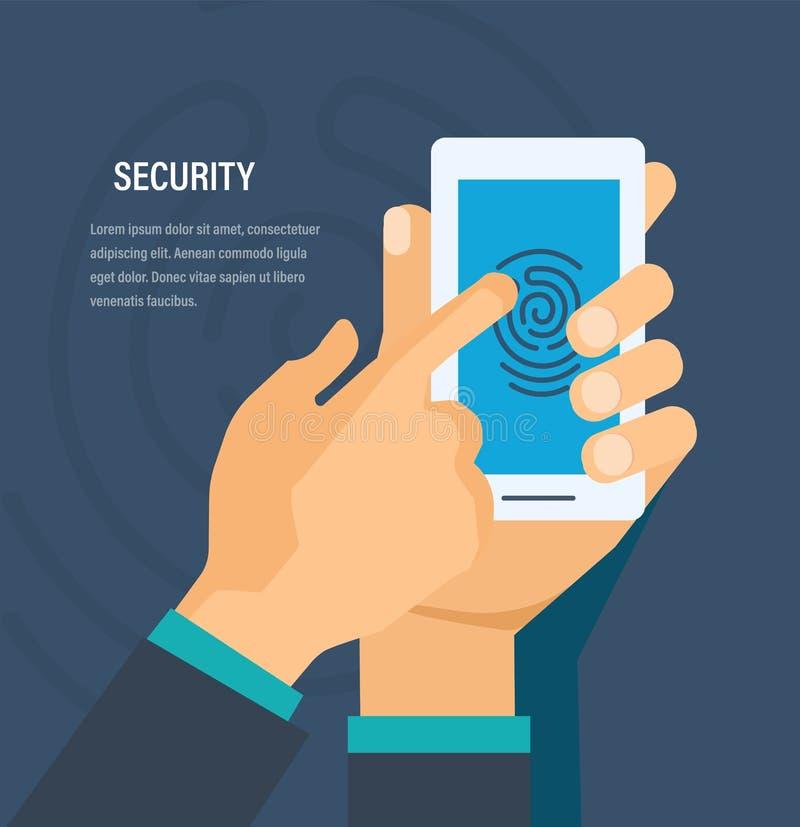 Concepto de la seguridad Seguridad de datos personales, del dinero de protección y de la información libre illustration