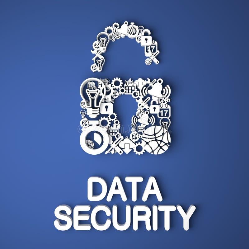 Concepto de la seguridad de datos. ilustración del vector