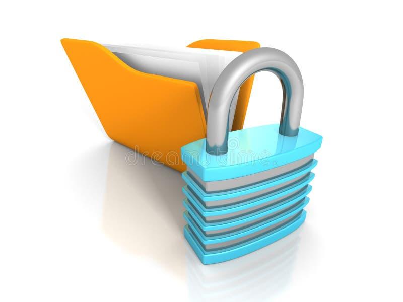 Concepto de la seguridad de datos Carpeta amarilla del documento y Padloc bloqueado ilustración del vector