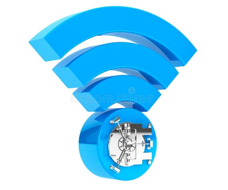 Concepto de la seguridad de Internet de WiFi wifi del símbolo 3d con la puerta de la caja fuerte del banco ilustración del vector