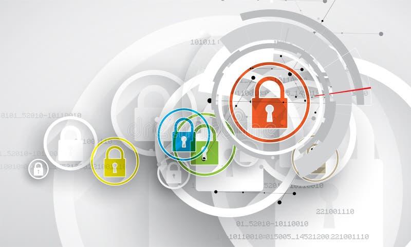 Concepto de la seguridad de la tecnología Fondo digital de la seguridad moderna libre illustration