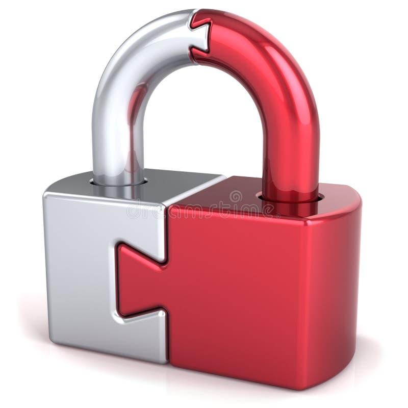 Concepto de la seguridad del candado del bloqueo del rompecabezas
