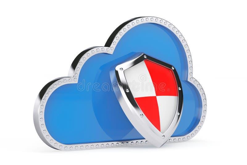 Concepto de la seguridad del Internet nube 3d con el escudo de la protección imagen de archivo libre de regalías