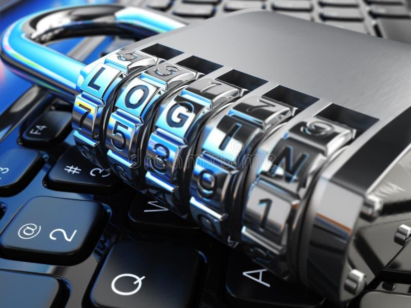 Concepto de la seguridad del Internet Ordenador portátil y cerradura segura con inicio de sesión stock de ilustración