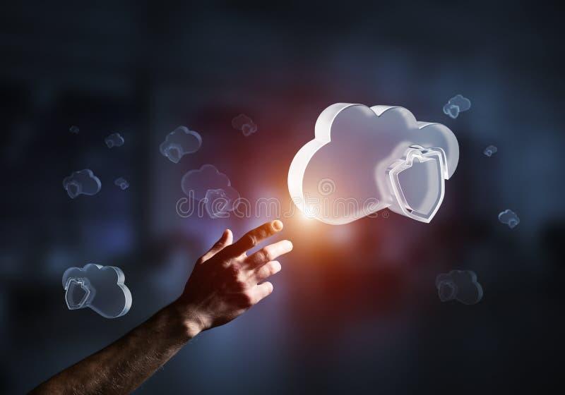 Concepto de la seguridad del ordenador y de Internet presentado por la nube del icono Técnicas mixtas fotografía de archivo libre de regalías