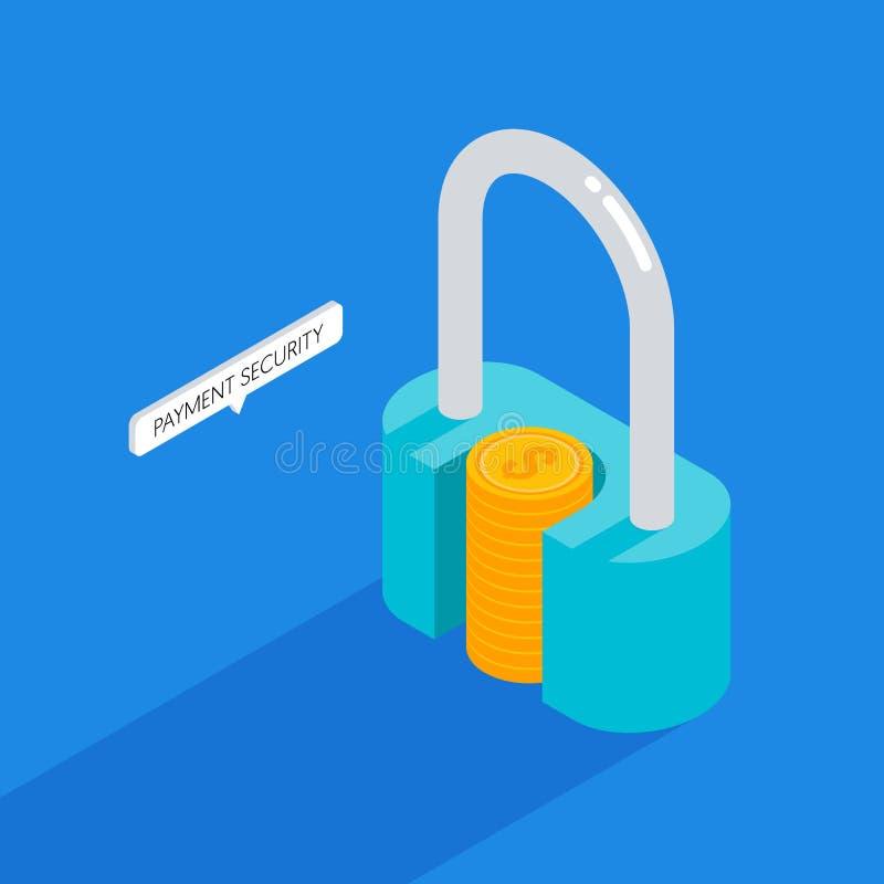 Concepto de la seguridad del pago y sistema de protección moderno de la transacción comercial ilustración del vector