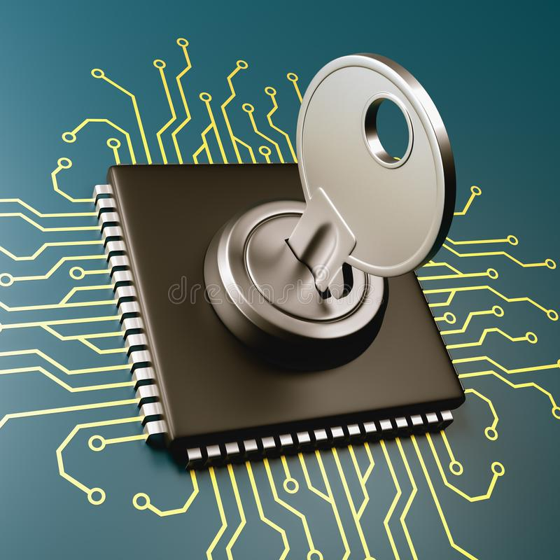 Concepto de la seguridad del procesador del ordenador stock de ilustración
