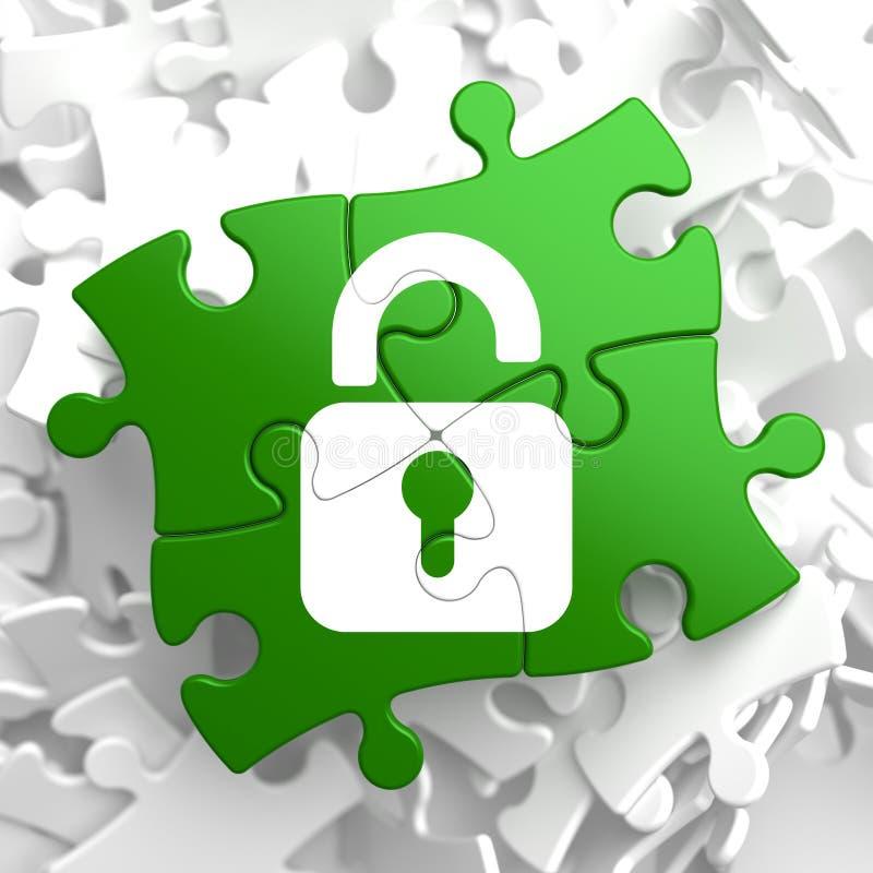 Concepto de la seguridad en pedazos verdes del rompecabezas. ilustración del vector