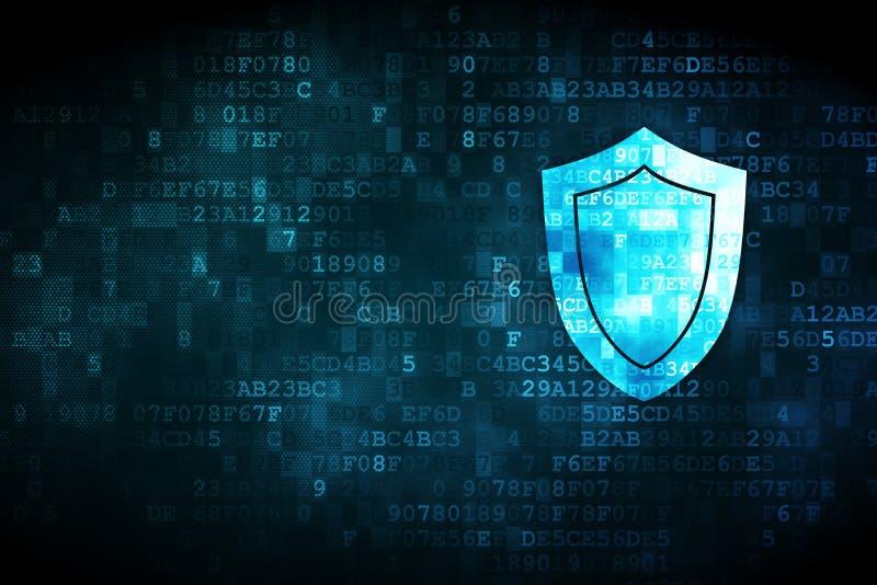 Concepto de la seguridad: escudo en fondo digital libre illustration