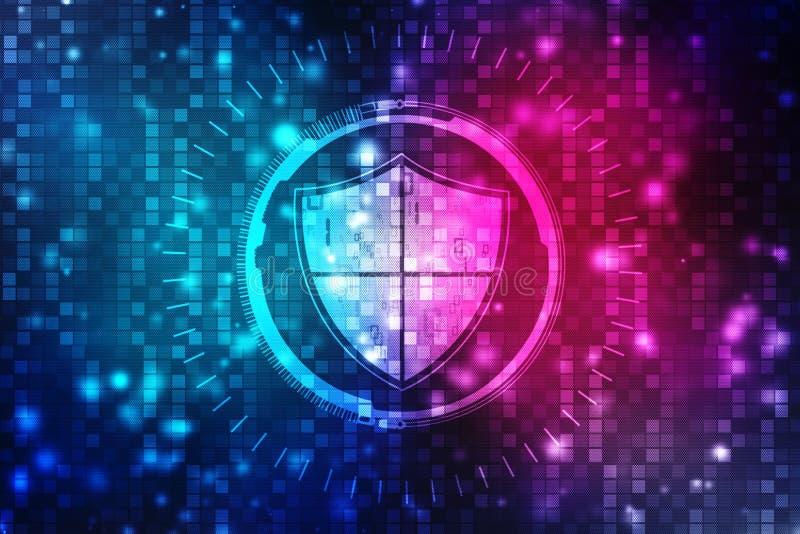 Concepto de la seguridad: escudo en la pantalla digital, fondo cibernético del concepto de la seguridad stock de ilustración
