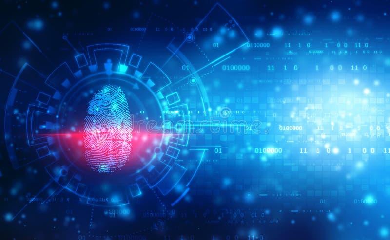 Concepto de la seguridad, exploración de la huella dactilar en la pantalla digital Concepto cibernético de la seguridad imagen de archivo