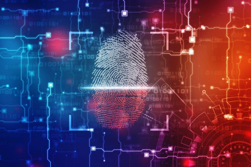 Concepto de la seguridad: exploración de la huella dactilar en la pantalla digital o ejemplo fotos de archivo libres de regalías