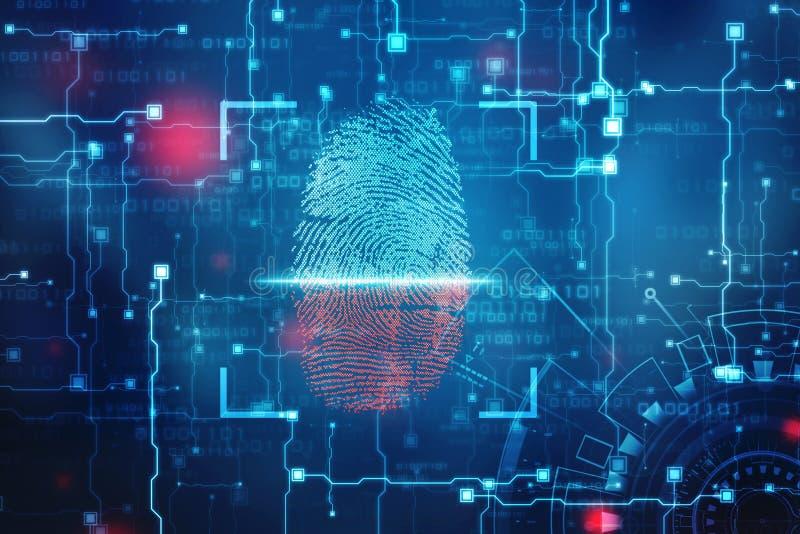 Concepto de la seguridad: exploración de la huella dactilar en la pantalla digital o ejemplo fotografía de archivo
