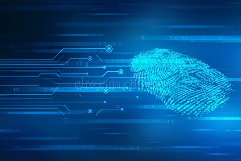 Concepto de la seguridad: exploración de la huella dactilar en la pantalla digital o ejemplo imagen de archivo libre de regalías