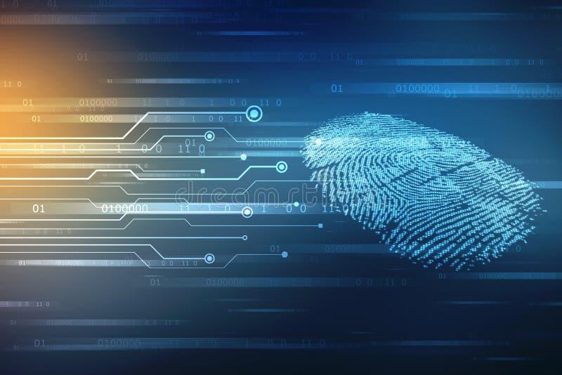 Concepto de la seguridad: exploración de la huella dactilar en la pantalla digital o ejemplo fotografía de archivo libre de regalías