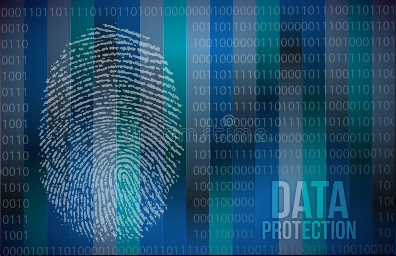 Concepto de la seguridad: huella dactilar y protección de datos ilustración del vector