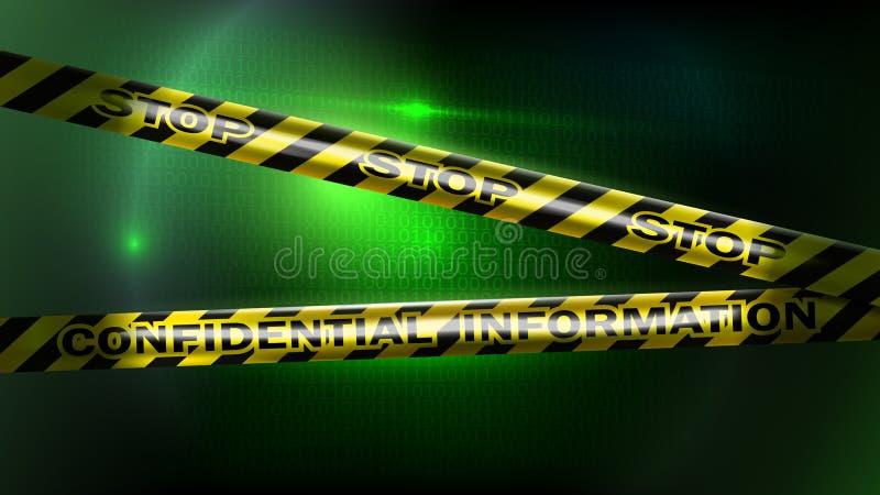 Concepto de la seguridad Protección de información personal muestra confidencial ilustración del vector