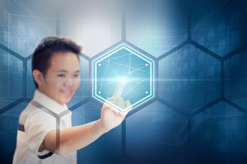 Concepto de la selección del holograma de la pantalla virtual de la tecnología fotos de archivo