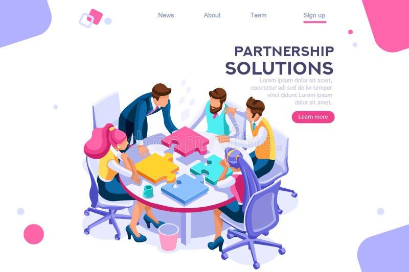 Concepto de la sociedad del trabajo en equipo de los pedazos del proyecto stock de ilustración