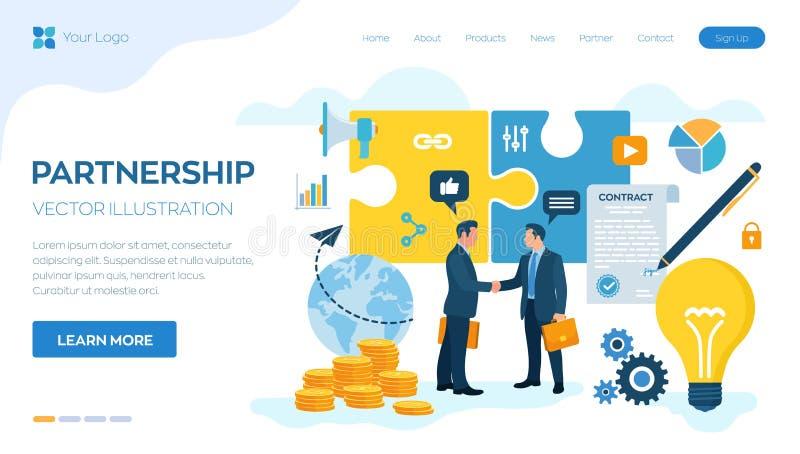 Concepto de la sociedad financiamiento de proyectos creativos Apret?n de manos de dos hombres de negocios Acuerdo de partidos Doc libre illustration