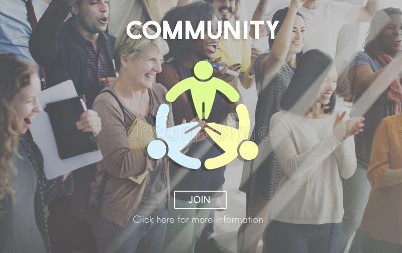 Concepto de la sociedad de la red del grupo social de la comunidad fotos de archivo libres de regalías