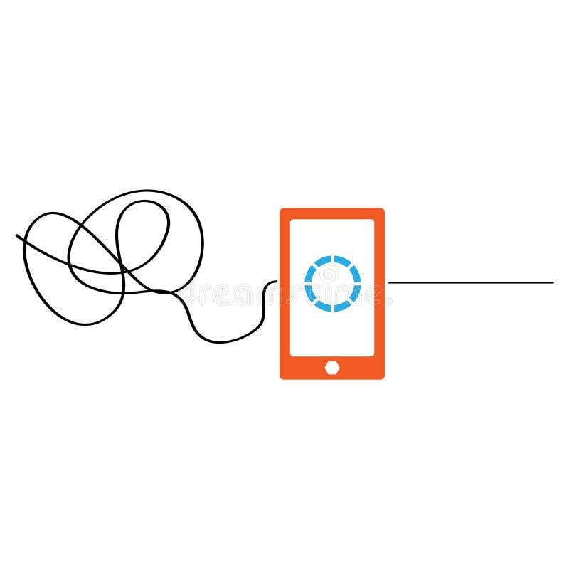 Concepto de la solución con el smartphone, difícil ser fácil Dise?o plano libre illustration