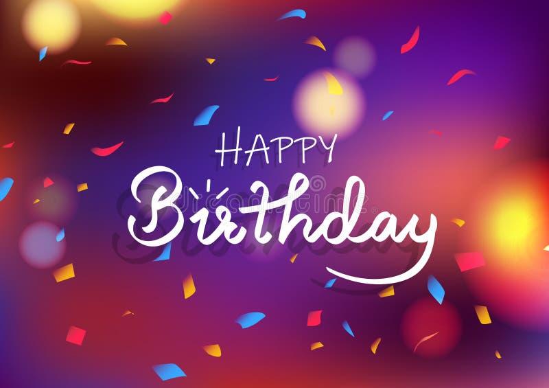 Concepto de la tarjeta del feliz cumpleaños, el caer abstracta colorida borrosa del confeti de la decoración del fondo del partid ilustración del vector