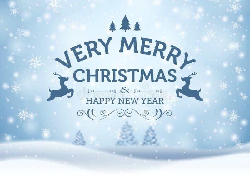 Concepto de la tarjeta de felicitación del día de fiesta Feliz Navidad y Feliz Año Nuevo ilustración del vector