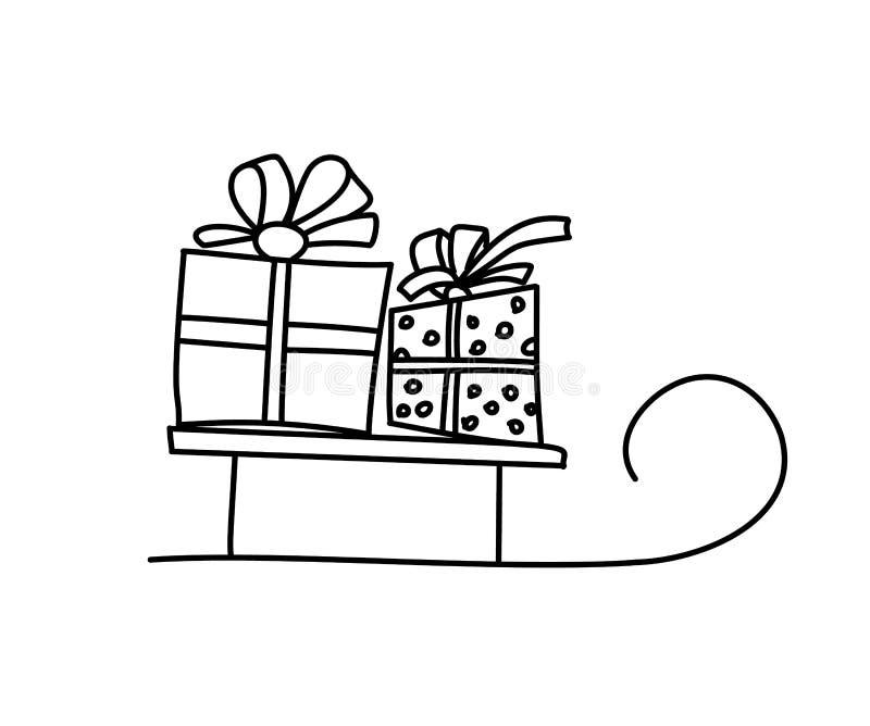 Concepto de la tarjeta de la Feliz Navidad Trineo de Papá Noel con dos cajas de regalo Presentes y regalos Ilustración aislada de libre illustration