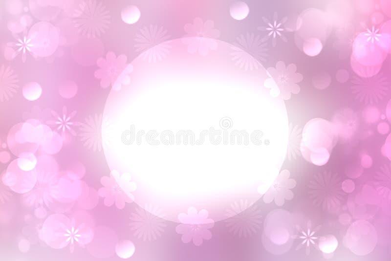Concepto de la tarjeta Fondo en colores pastel rosado brillante de la falta de definición festiva abstracta con un marco blanco d ilustración del vector