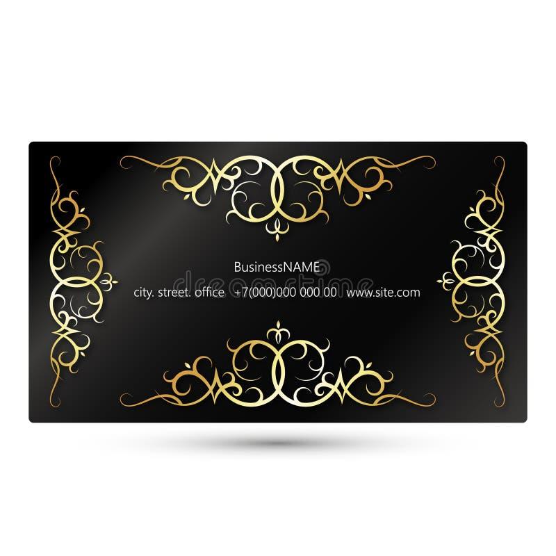 Concepto de la tarjeta de visita con el ornamento del oro libre illustration