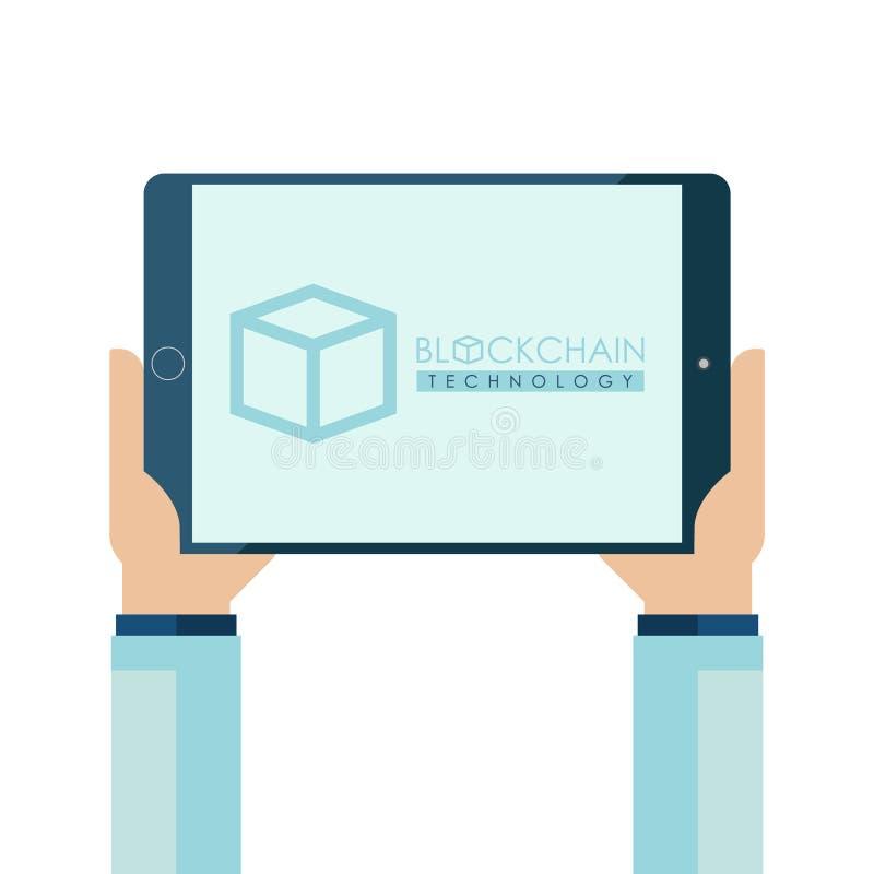 Concepto de la tecnología de Blockchain con las manos humanas que sostienen la PC de la tableta Tecnología de la protección de da stock de ilustración