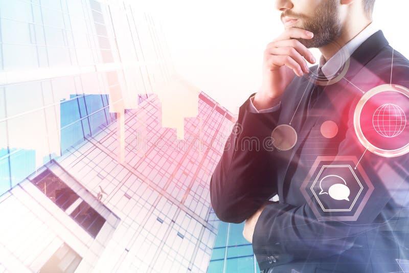 Concepto de la tecnología, de la comunicación y de las finanzas imagenes de archivo