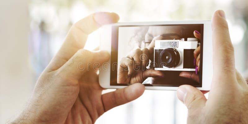 Concepto de la tecnología de la captura del teléfono de la cámara de la fotografía imágenes de archivo libres de regalías