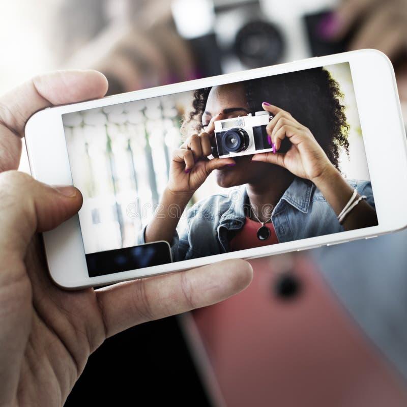 Concepto de la tecnología de la captura del teléfono de la cámara de la fotografía foto de archivo