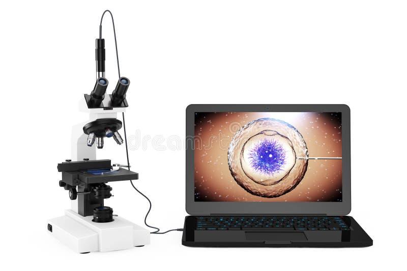 Concepto de la tecnología de la ciencia El microscopio moderno del laboratorio conecta ilustración del vector