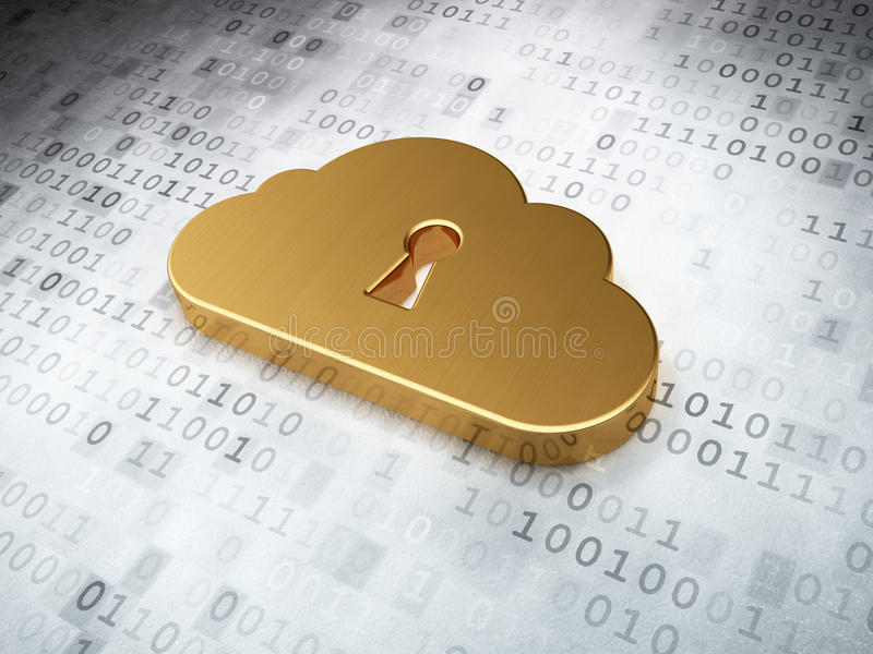 Concepto de la tecnología de la nube: Ojo de la cerradura de oro de Whis de la nube en b digital libre illustration