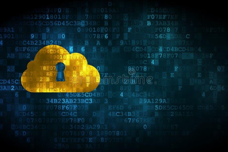 Concepto de la tecnología de la nube: Ojo de la cerradura de Whis de la nube en backgrou digital ilustración del vector