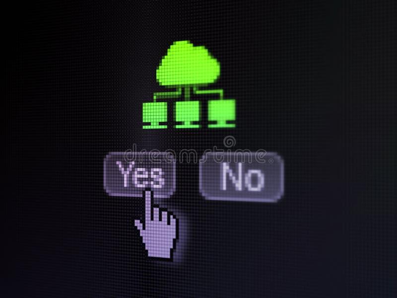 Concepto de la tecnología de la nube: Red de la nube en la pantalla de ordenador digital imagen de archivo