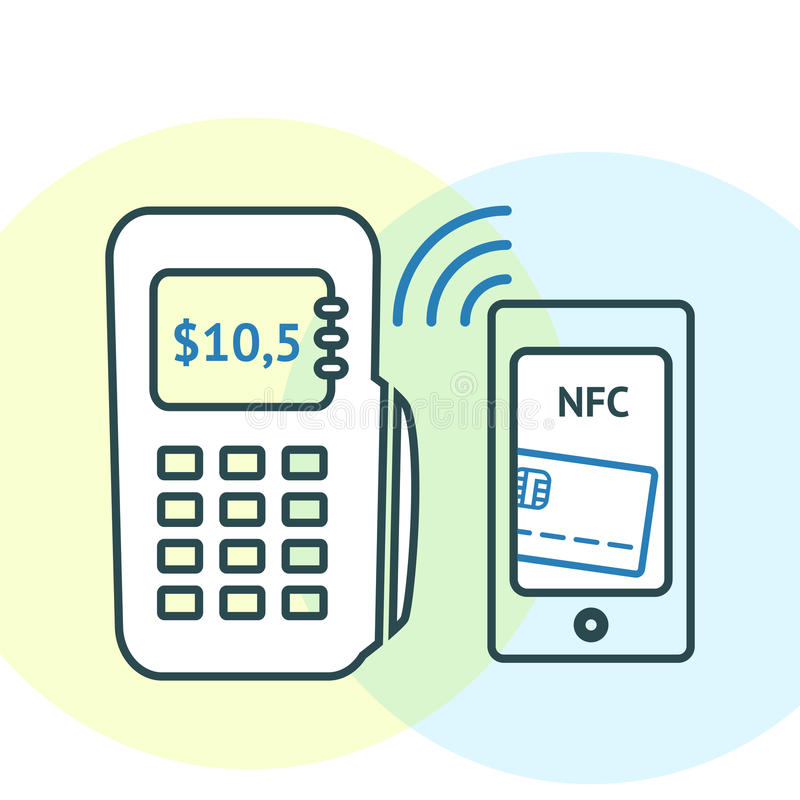 Concepto de la tecnología de NFC ilustración del vector