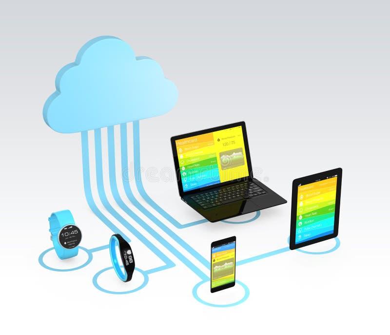 Concepto de la tecnología de ordenadores de la nube de la atención sanitaria stock de ilustración